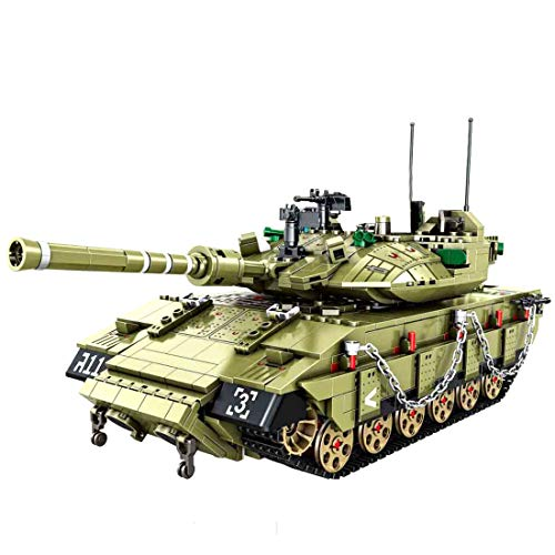 PEXL Technik Panzer Bausteine Bausatz, Israel Merkava MK4 Militär Panzer Modell, 1700 Klemmbausteine und 6 Minifiguren, Kompatibel mit Lego