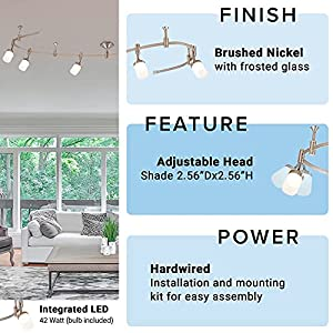 """Catalina Lighting 21904-000 Transitional 6 Integrated LED Flex Track Ceiling Light, Bulbs Included, 96"""", Brushed Nickel"""