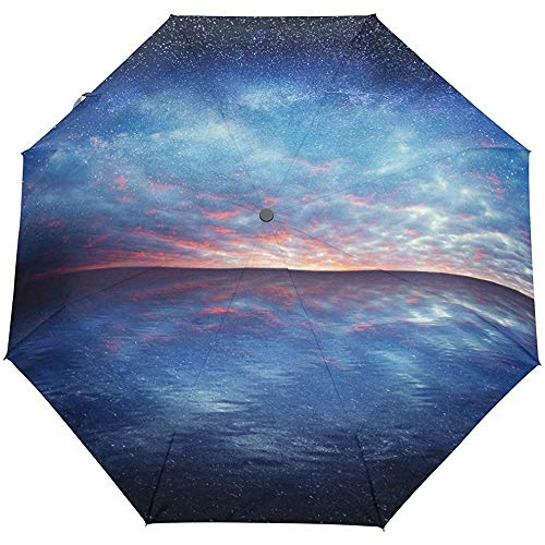 Ozean-Seesternenklarer Himmel spielt nahes Sun-Regen-Selbstregenschirm die Hauptrolle