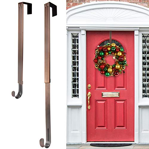 HEYHOUSE Wreath Hanger,Adjustable Length 14.9-25 Inch Metal Door Hanger,Wreath Hanger for Front Door 20 lbs Larger Christmas Wreaths Decorations Hook, Bronze