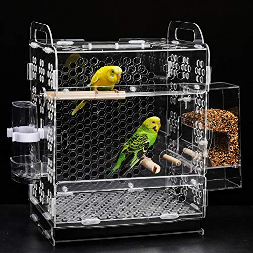 QNMM Parrot Cage Farming Systèmes de fourrage créatifs Seed Corral No Feed Pet Feeder, Keeps Cage Cleaner