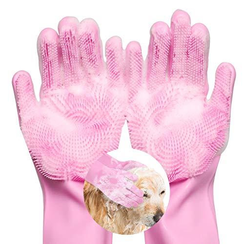 Lewondr Haustier Bürsten Handschuh, Pflegehandschuhe Tierhaarentferner aus Silikon Ungiftige Hitzebeständige Handschuhbürste Enthaarungsmassage Pflegenbürste für Haustiere Hund Katze Waschen - Rosa
