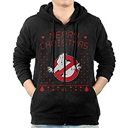 Ghostbusters Christmas Hoodie sweatshirt from the 1984 movie. Ghostbusters with Christmas trees