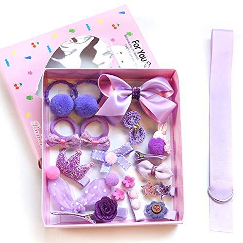 18 Stücke Haarklammern Haarschleife Set für Mädchen, Haarschmuck Geschenkset für Baby(Lila)