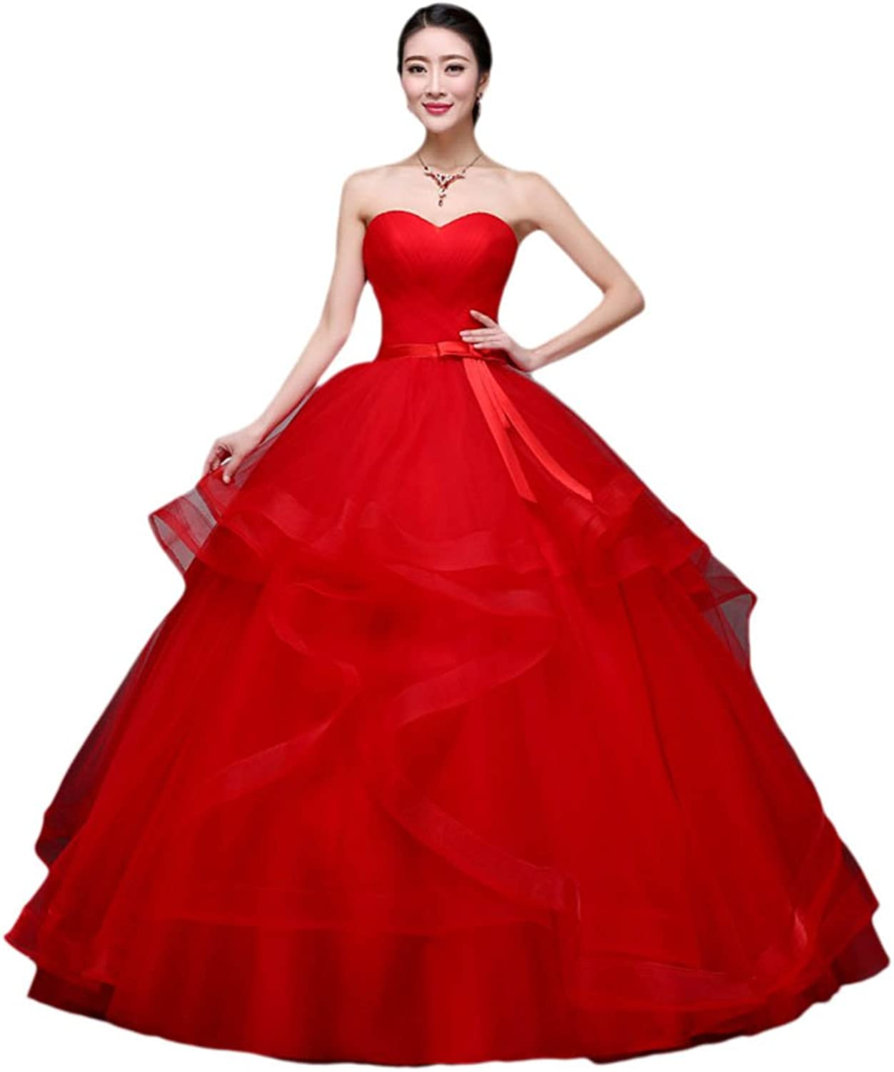 Vimans Women's 2016 Elegant Long Red Sweetheart Bowknot Formal Party Gowns