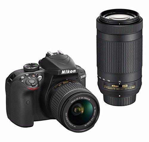 Nikon D3400 DSLR Camera with 18-55mm and 70-300mm Nikkor Lens + Nikon Bag + 32GB Card + Wide & Telephoto Lens + Flash + Filters + Remote and Kit (Black)