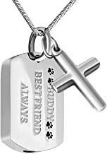 abooxiu Cremation Jewelry Urn Necklace for Ashes Pet Paw Print Memorial Ash Necklace Keepsake Pendant - Buddy Best Friend Always
