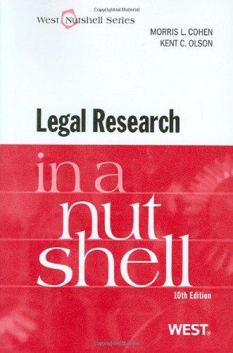 Legal Research in a Nutshell, 10th (Nutshell Series) (West Nutshell Series)