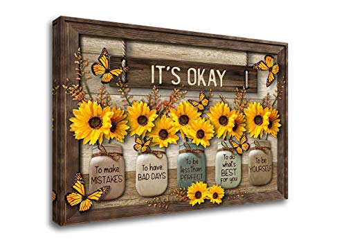Sunflower Wall Art It's Okay Inspirational Quotes Canvas Print Wall Decor Sunflower Painting Picture Contemporary Artwork For Living Room Bedroom Bathroom Office Home Decor 12x18Inch