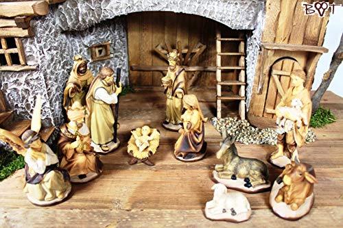 Figuren für große Weihnachtskrippen aus Holz hochwertige Krippenfiguren in Geschenkbox Holzoptik KFG-HO-Box im Holzfiguren-Stil handbemalt und