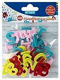 Stylex Fieltro con números del 0 al 9, 48 Unidades, Colores Surtidos, Ideales para Manualidades, decoración de Mesa y Comienzo de la Escuela, carbón (46465)