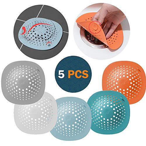 Ruitena - 5 Stück Silikon-Abflussschutz mit Saugnapf, Abflusssieb Dusche Haarfänger Badewanne Abflussabdeckung für Küche Badezimmer