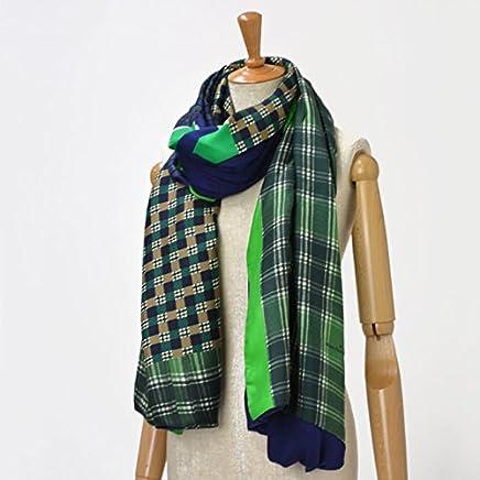 Pierre Louis Mascia【ピエールルイマシア】ダブルフェイスストール B312/29977 silk wool rayon GREEN/NAVY(グリーン /ネイビー)