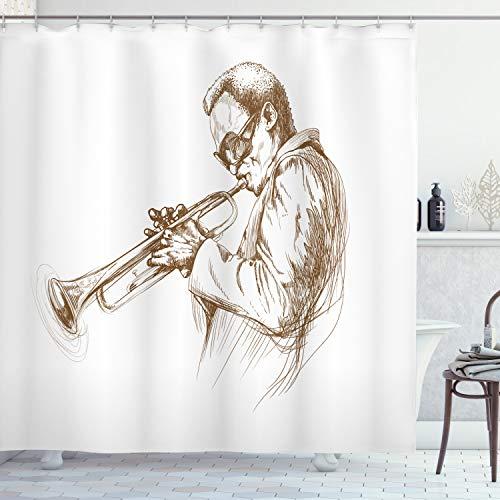 Ambesonne Music Shower Curtain, Jazz Man Playing Trumpet...