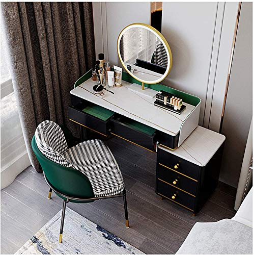 White Dressing Table Set Makeup Desk with Adjustable Brightness Mirrors 4 Drawers Vanity Storage Dressing Table with Stool Bedroom Dresser,80cm