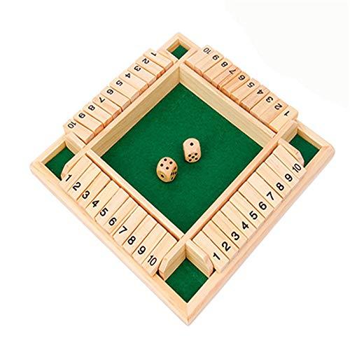 Zoomarlous Holzbrettspiel, Holztisch Brettspiel Würfel, Vierseitiges Flop-Spiel, Holztisch Brettspiel Würfelspiel, Klappenspiel Vier Würfelspiel für Jahren Jungen und Mädchen Geschenke