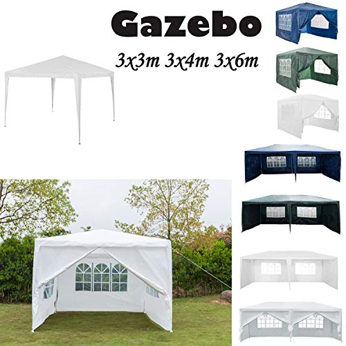 AutoBaBa 3M x 3M Gazebo Tent Marquee Canopy Powder Coated Steel Frame for Outdoor Wedding Garden Party Camping, with Side Panels, Waterproof, White