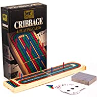 A classic tabletop board game: a traditional wooden, coloured cribbage board with coloured pegs and playing cards. Play the classic 3 track version of the traditional game of cribbage Easy Storage: The wooden board folds in half making for easier sto...