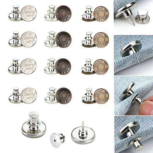 12 Piezas Se Ajustan Botones Desmontables Vaqueros, 17 mm Cada Uno, Instant Buttons Fáciles De Ajustar Sin...