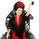 Folk Artesanía poupée de Collection Porcelaine 28 cm avec Chapeau et Robe typiquement Flamenco ou Pois andalous d'Espagne. (Taupe Rouge Noir)