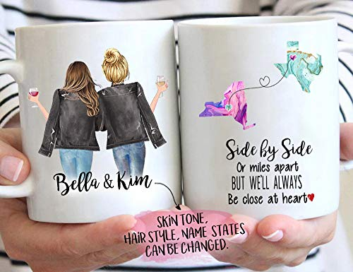 Custom Long Distance Friendship Mug, Side by Side or Miles Apart Coffee Mug, Choose Names Hairs & States, Personalized Going Away Gift for Sister, Mom, Friend, 11/15 oz