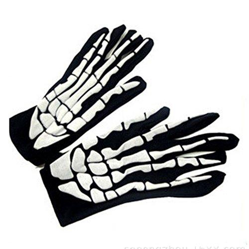 ZahuihuiM 2018 Europäische Halloween Stil Halloween Horror Schädel Klaue Knochen Skelett Goth Racing Volle Handschuhe Lustig Vampir Horror Zombie Hexe Teufel Outfit (Freie Größe, Weiß)