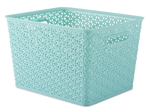Whitmor Resin Form Tote Large, Turquoise