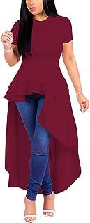 Fashion High Low Tops for Women - Unique Ruffle Tunic Shirt Dress
