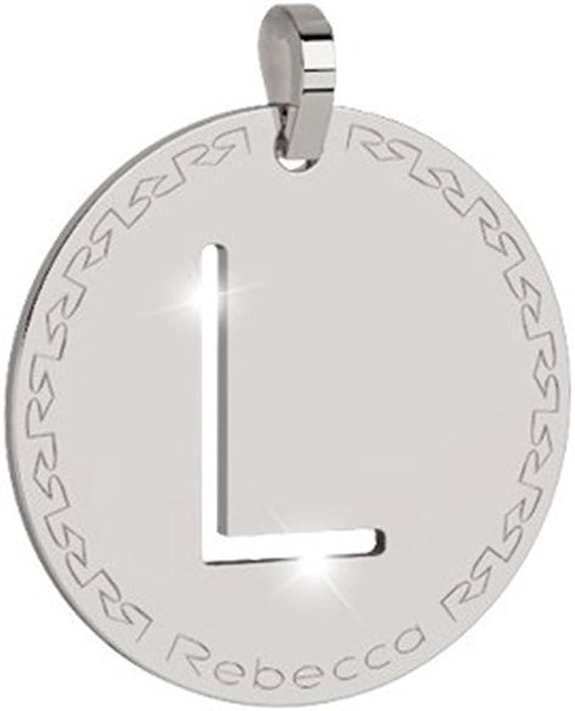 Rebecca pendente in bronzo rodiato  lettera l BWRPBL12