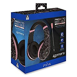 Metallic Rose Gold design 40mm speaker drivers flexible Removable mic Soft foam cushioning flexible ear cups game/chat volume control with mute Adjustable headband flexible frame
