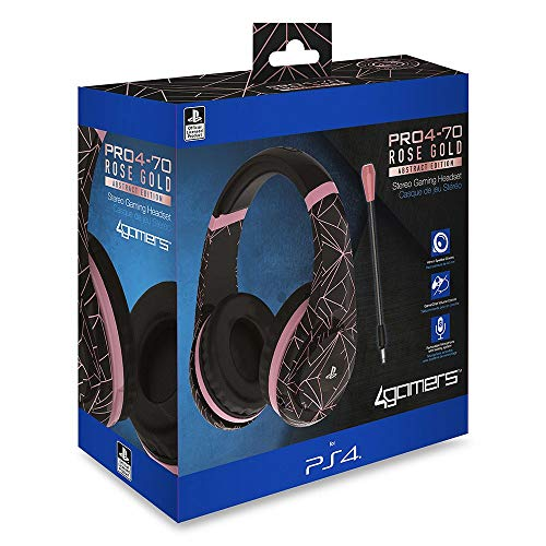 4Gamers, Officially Licensed Pro4-70 PS5 PS4, cuffie auricolari, oro rosa, Abstract Edition (PS4 )
