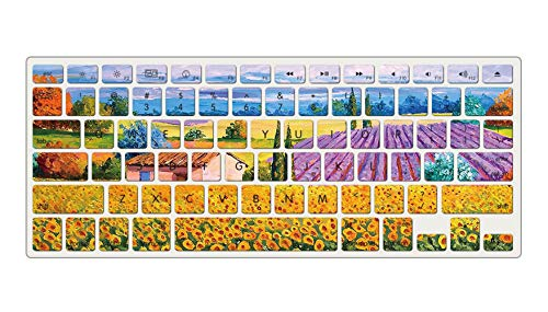 KZIK Color Painting Silicone Keyboard Cover Skin for 2015 or Older Version MacBook Air13 MacBook Pro 13 Inch, 15 Inch (No Fit 2018-2016 MacBook Air 13 Pro 13 15 Touch Bar) - Wheat Field