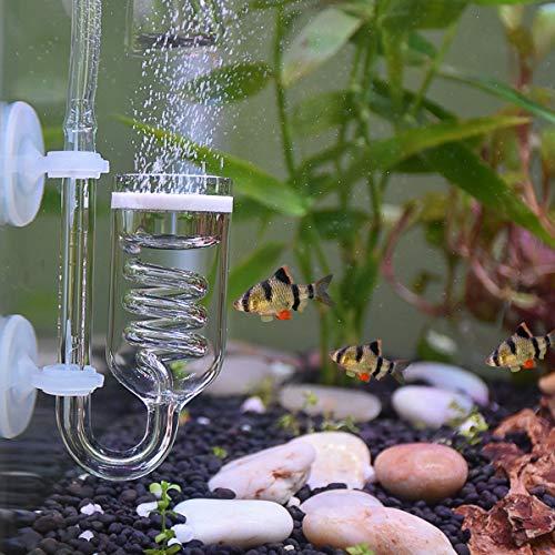 WEAVERBIRD CO2 Diffusor U Form Glas Kohlendioxid Luftdiffusor 3 Kreise Aquarium Zerstäuber Spiralglasrohr mit Saugnapf
