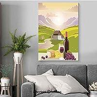 ワイナリーの装飾 印刷者 アートフレーム モダン 50x70cm 木製パネル付 絵 絵画 インテリア 壁掛け 壁飾り 風水 玄関 (木枠付きの完成品) ワインのチーズとパンとフランスの田舎の山の風景牧歌的な風景