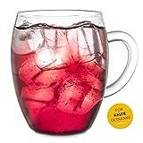 Creano Teeglas all in one, Große Teetasse mit Sieb und Deckel aus Glas, 400ml - 6