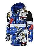 SCREENSHOT-S51051 Hip-Hop Hooded Water Resistant Windbreaker - Outdoor Lightweight Urban Graffiti Cartoon Pattern Pullover Jacket-Royal-Medium