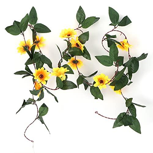 URRNDD 30LED String Lights,Green Leaf Simulation Sun Flower Sunflower Warm White Light