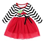 Happy Town Toddler Baby Christmas Outfits Kids Girls Deer Print Long Sleeve Dress Striped Skirts Christmas Dress (2T/3T, Wave-Christmas Tree)