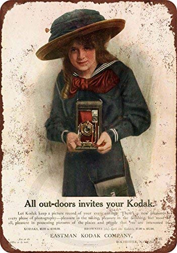 cwb2jcwb2jcwb2j 1908 Kodak camera's Vintage Reproductie Metalen bord 8 x 12