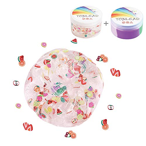 2Pcs Magic Crystal Fruit Slime+Fluffy Slime, Childrens Gift Floam Slime Stress Relief Toy Soft Rubber for Kids, Students, Birthday, Party, Year Gift Arts Crafts School Supplies, Gift Box
