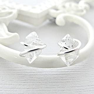 Sterling Silver Earrings, Herkimer Diamond Earrings Studs, Sterling Silver Post, Rough Diamond Earrings, Crystal Earrings, Quartz Studs, Diamond