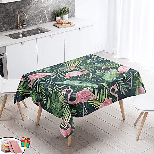 Morbuy Nappe Anti Tache Rectangulaire,Imperméable Étanche à l'huile 3D Imprimé Carrée Couverture de Table Lavable pour Ménage Cuisine Jardin Picnic Exterieur (Verte Plante,140x240cm)