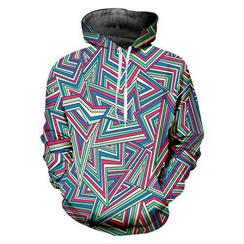 KIUYMRV Personality Geometric Pullover 3D Männer Hoodies Bedruckt Penta Man Sweatshirt Geometric XXL
