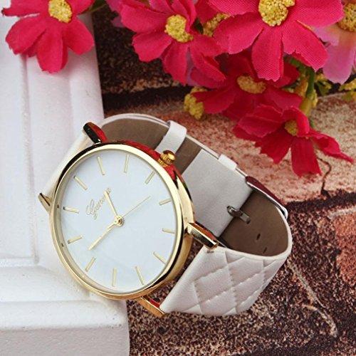 elistelle Unisex Casual piel sintética reloj de pulsera analógico de cuarzo Moda reloj 1pcs, Blanco, As described