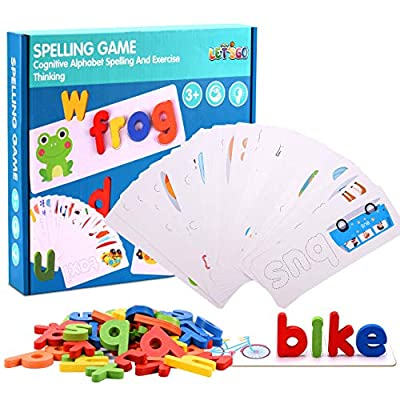 ATOPDREAM Matching Letter Game for Kids Boys Girls 3-8, Sight Word Games Spelling Games Puzzles for Kids Ages 4-8 Learning Educational Toys Birthday for 2-8 Year Old Boys Girls