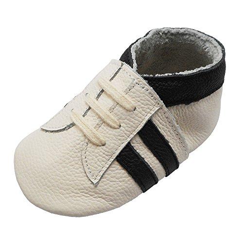 YIHAKIDS Babyschuhe Echtleder Weiche Wildleder Sohle Schuhe Kleinkind Lauflernschuhe Erste Walker Mokassins Multi-Farben Weichen Sneaker(Weiß mit schwarzen Streifen,6-12 Monate,22 EU)