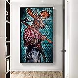 DCLZYF Pintura de Animales Abstractos Elk Man con Hacha Carteles de Lienzo Deer Man Print Wall Art Pictures Living Room Decor-60x100cm (sin Marco)