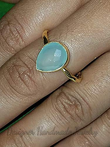 Statement Ring Promise Ring Handmade Ring Worry Ring Aqua Chalcedony Ring Gift For Her 925 Sterling Silver Ring