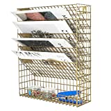 EasyPAG Mesh Wall File Holder 5 Tier Vertical Mount/Hanging Organizer with Bottom Flat Tray,Gold