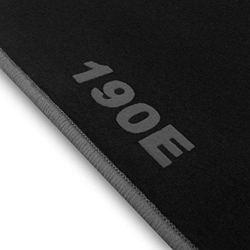 online-fussmatten OFM190E0006 190-Line Velours Auto Fußmatten, 190E Druck und Rand in Silbergrau